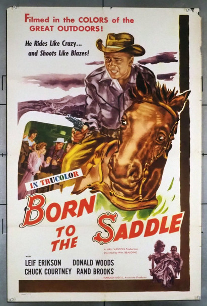 BORN TO THE SADDLE (1953) 28737 Astor Films Original U.S. One-Sheet Poster (27x41)  Folded  Very Good Plus Condition