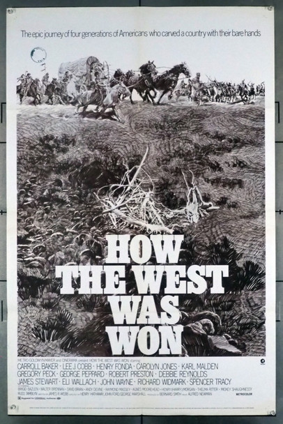 HOW THE WEST WAS WON  (1962) 28744 MGM Original U.S. One-Sheet Poster   35mm re-release of 1970  Average Used Condition