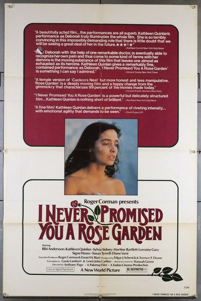 I NEVER PROMISED YOU A ROSE GARDEN (1977) 3521 New World Original U.S. One-Sheet Poster (27x41) Folded  Average Used Condition