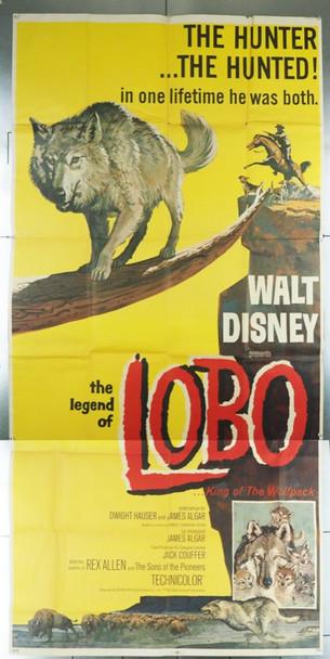 LEGEND OF LOBO, THE (1962) 17526 Buena Vista Original U.S. Three-Sheet Poster (41x84) Folded  Fine Plus Condition