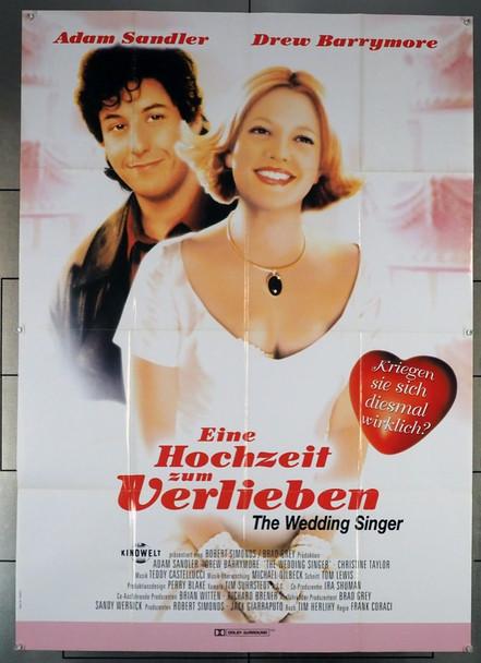 WEDDING SINGER, THE (1998) 19176   GERMAN POSTER   ADAM SANDLER   DREW BARRYMORE Original German 32x46 Poster  Folded  Fine Plus Condition