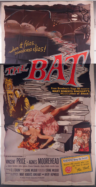 BAT, THE (1959) 9740        VINCENT PRICE HORROR MOVIE Allied Artists Original U.S. Three Sheet Poster (41x81) Folded  Fine Plus to Very Fine