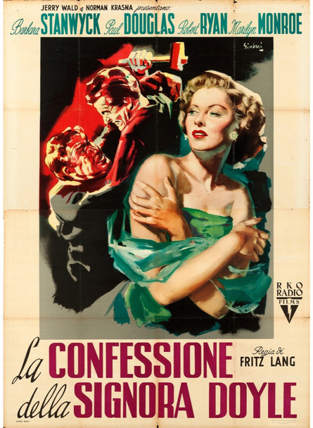 CLASH BY NIGHT (1952) 28706 Original RKO Italian 79x55 Poster  Folded  Fine to Very Fine Condition