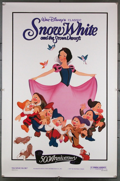 SNOW WHITE AND THE SEVEN DWARFS (1937) 27820 Walt Disney Company Original U.S. One-Sheet Poster  Re-release of 1987  50TH Anniversary One-Sheet