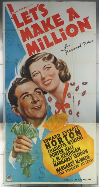 LET'S MAKE A MILLION (1936) 28809 Paramount PIctures Original U.S. Three Sheet Poster  41x81  Folded  Fine Plus Condition