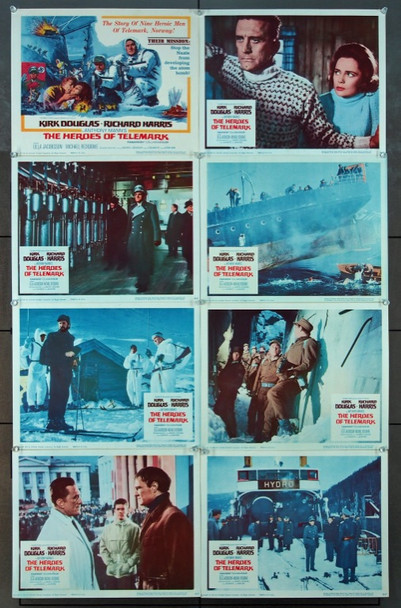 HEROES OF TELEMARK, THE (1966) 5277 Columbia Pictures Original U.S. Lobby Card Set  Eight Individual Cards (11x14) Fine Plus to Very Fine Condition