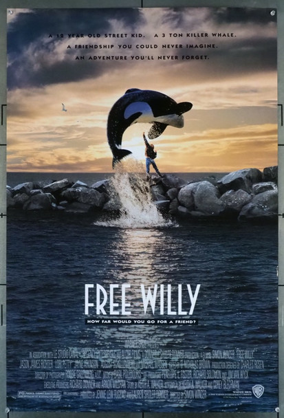 FREE WILLY (1993) 5214 Warner Brothers Original U.S. One-Sheet Poster (27x40) Rolled  Double Sided  Fine Plus Condition