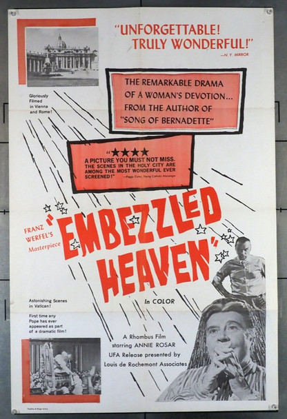 EMBEZZLED HEAVEN (1959) 11016     Directed by FRANZ WERFEL UFA Original U.S. One-Sheet Poster (27x41) Folded  Fine Condition