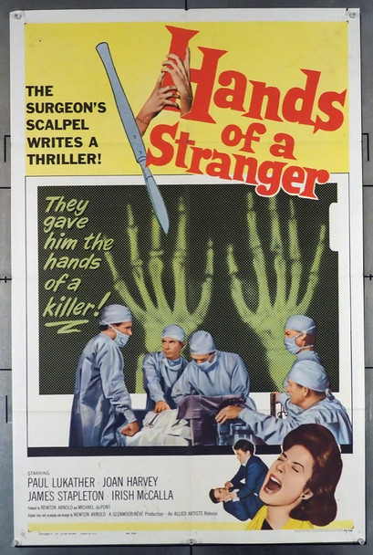 HANDS OF A STRANGER (1962) 11014    Medical Horror Movie Allied Artists Original U.S. One-Sheet Poster (27x41) Folded  Fine Plus Condition