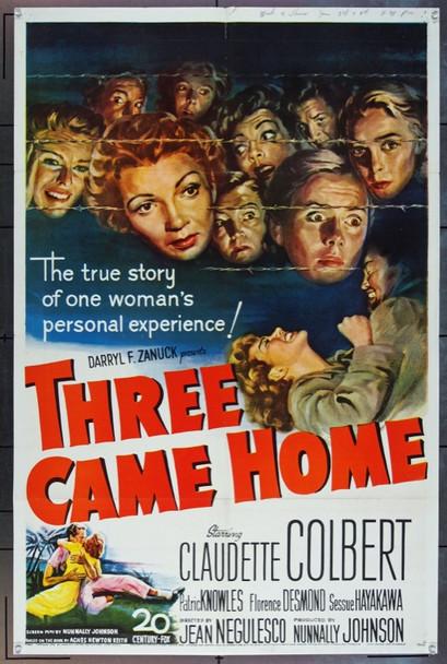 THREE CAME HOME (1950) 13840 Original 20th Century-Fox One Sheet Poster (27x41).  Folded.  Very Fine.