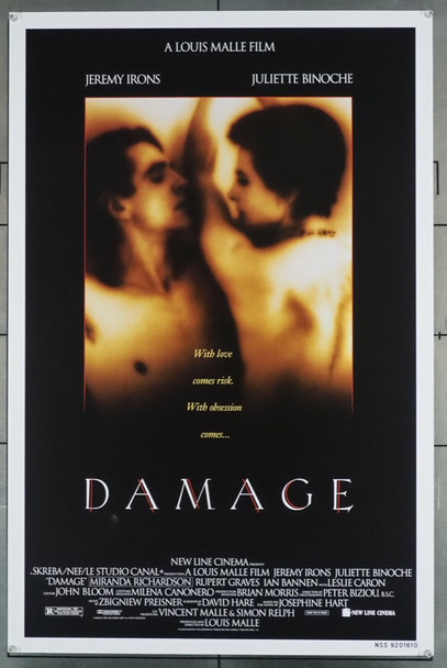 DAMAGE (1992) 5317 New Line Cinema Original U.S. One-Sheet Poster (27x41) Rolled  Very Fine