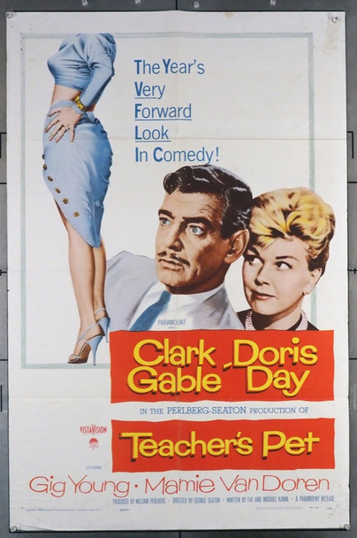 TEACHER'S PET (1958) 28808 Paramount Pictures Original U.S. One-Sheet Poster (27x41) Folded   Very Good Plus Condition