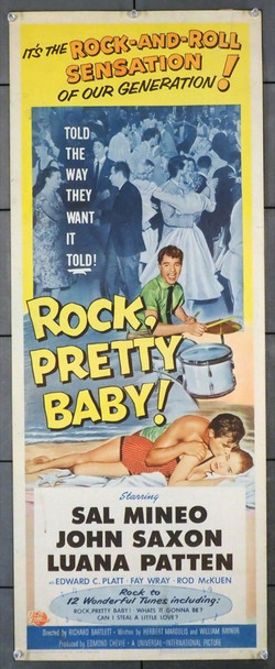 ROCK, PRETTY BABY! (1956) 1068 Universal PIctures Original U.S. Insert Poster (14x36) Very Good Plus Condition