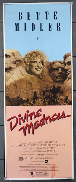 DIVINE MADNESS (1980) 12315   BETTE MIDLER ON MOUNT RUSHMORE Warner Brothers Original U.S. Insert Poster (14x36)  Good Condition Only