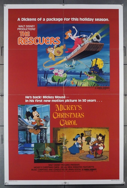 RESCUERS, THE (1977) 26167  with Disney short MICKEY'S CHRISTMAS CAROL  Walt Disney Company Original U.S. One-Sheet Poster (27x41)  Folded  Very Fine Condition