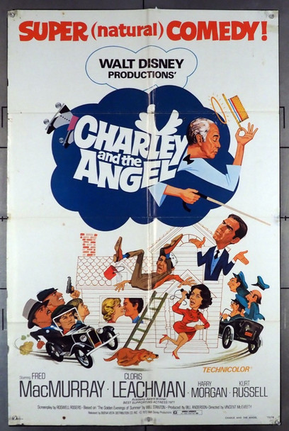 CHARLEY AND THE ANGEL (1973) 26154 Walt Disney Company Original U.S. One-Sheet Poster (27x41) Folded  Good Condition Only