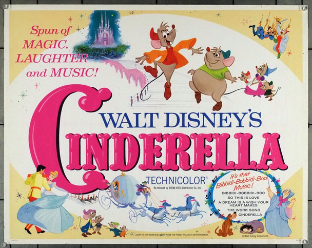 CINDERELLA (1950) 911 Original RKO U.S. Half Sheet Poster (22x28)  Re-release of 1965   Fine Plus Condition