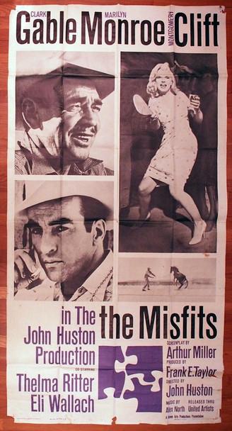 MISFITS, THE (1961) 10563  Movie Poster   CLARK GABLE   MARILYN MONROE   MONTGOMERY CLIFT   JOHN HUSTON United Artists Original U.S. Three-Sheet Poster (41x81)  Average Used Condition