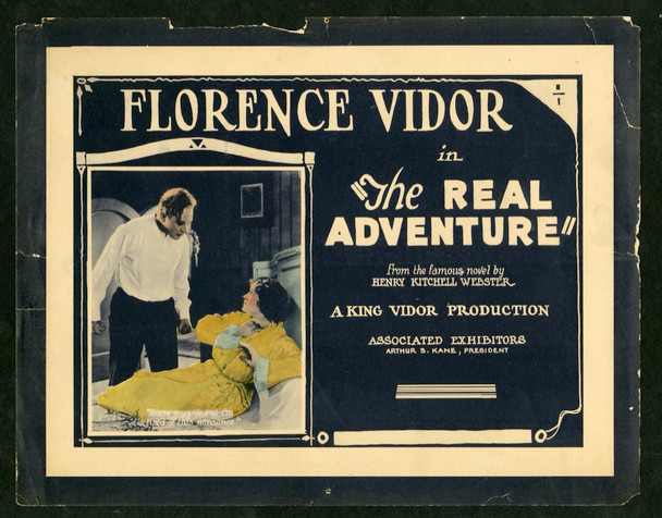 REAL ADVENTURE, THE (1922) 2510    FLORENCE VIDOR Original Associated Exhibitors Title lobby card   11x14  Very Good Condition   FLORENCE VIDOR