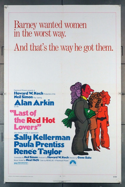 LAST OF THE RED HOT LOVERS (1972) 4030 Paramount Pictures Original U.S. One-Sheet Poster (27x41) Folded  Very Good Plus Used Condition