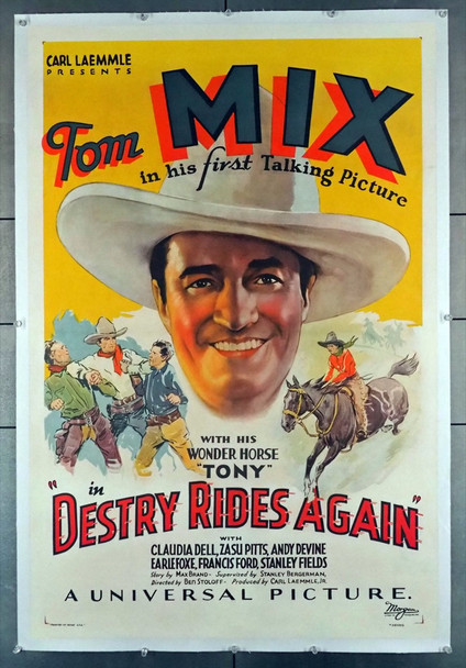 DESTRY RIDES AGAIN (1932) 28845  Classic Tom Mix Poster Universal Pictures Original U.S. One-Sheet Poster (27x41) Linen Backed  Very Fine Condition