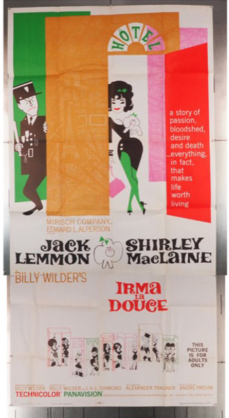 IRMA LA DOUCE (1963) 7723 United Artists Original U.S. Three-Sheet Poster (41x81) Folded  Very Fine Condition