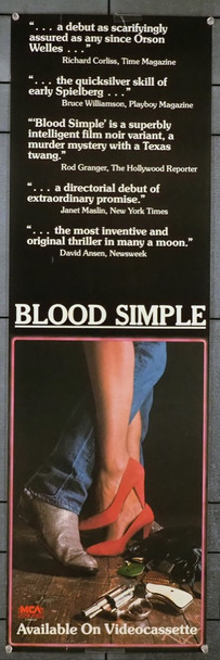 BLOOD SIMPLE (1984) 28698 Original MCA Canada Video Release Poster (12x30)  Average Used Condition