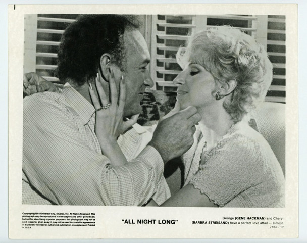 ALL NIGHT LONG (1981) 19319   Barbra Streisand and Gene Hackman Universal Pictures Original Gelatin Silver Print (8x10)  Very Fine Condition