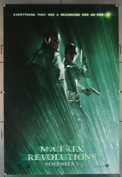 MATRIX REVOLUTIONS (2003) 28922   Keanu Reeves and Laurence Fishburne Warner Brothers Original U.S. Advance One-Sheet Poster (27x40) Rolled  Fine Plus Condition