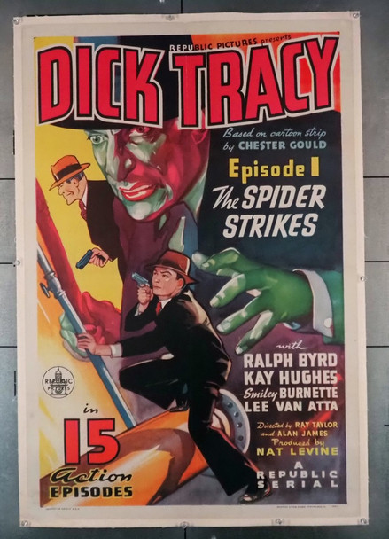DICK TRACY (1937) 28856 DICK TRACY (1937) Republic Pictures Chapter One Serial One-Sheet Poster (27x41) Linen-Backed