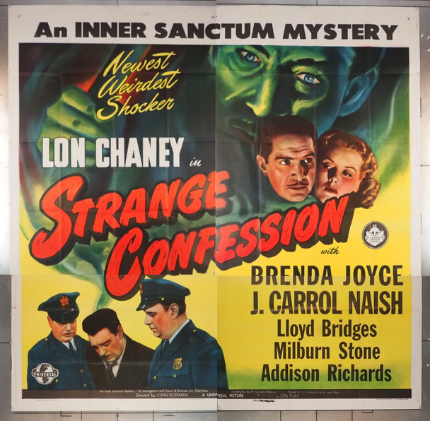 STRANGE CONFESSION (1945) 7675 Universal PIctures Original U.S. Six Sheet Poster (81x81)  Folded  Very Fine Condition