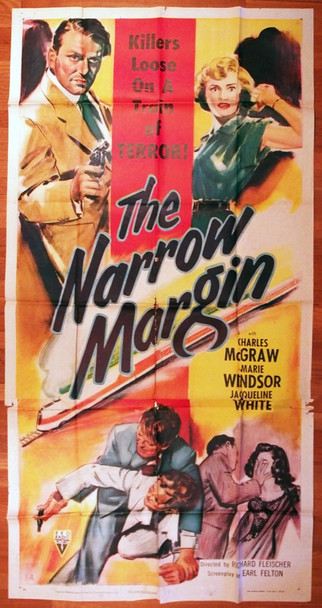 NARROW MARGIN, THE (1952) 7769 Original RKO U.S. Three-Sheet Poster (41x81) Folded  Theater-Used Fair Condition