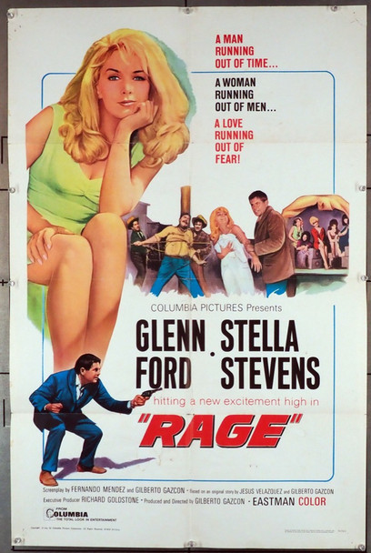 RAGE (1966) 3611   Stella Stevens Movie Poster Columbia Pictures Original U.S. One-Sheet Poster (27x41) Folded  Average Used Condition