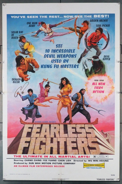 FEARLESS FIGHTERS (1973) 3610 Ellman Original U.S. One-Sheet Poster (27x41) Folded  Fine Plus Condition