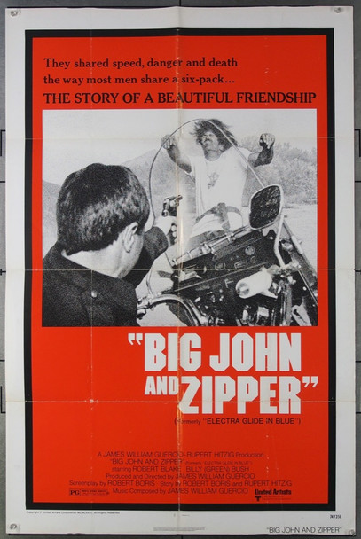 BIG JOHN AND ZIPPER (1974) 3045 (ELECTRA GLIDE IN BLUE) Re-release United Artists Original One-Sheet Poster  (27x41) Folded  Very Good to Fine Condition