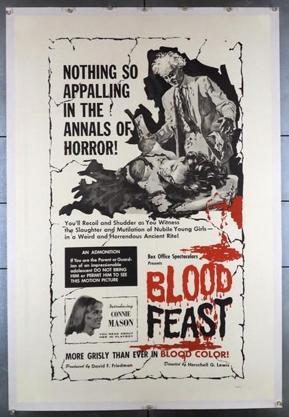 BLOOD FEAST (1963) 8959   Herschell Gordon Lewis Movie Poster Box Office Original U.S. One-Sheet Poster (27x41) Linen Backed  Fine Plus Condition