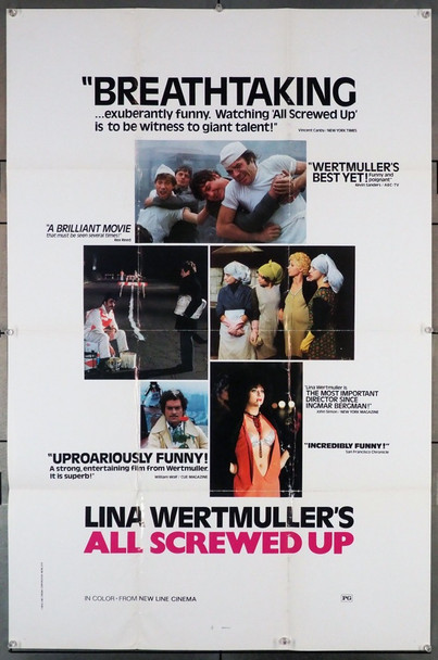 ALL SCREWED UP (1976) 1154  U.S. Movie Poster   Lina Wertmuller New Line Cinema Original U.S. One-Sheet Poster (27x41) Folded  Fine Condition