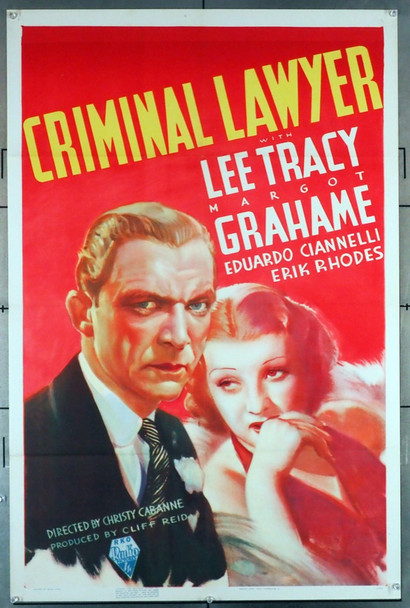 CRIMINAL LAWYER (1937) 28960 RKO Pictures Original U.S. One-Sheet Poster (27x41) Folded  Very Fine Condition