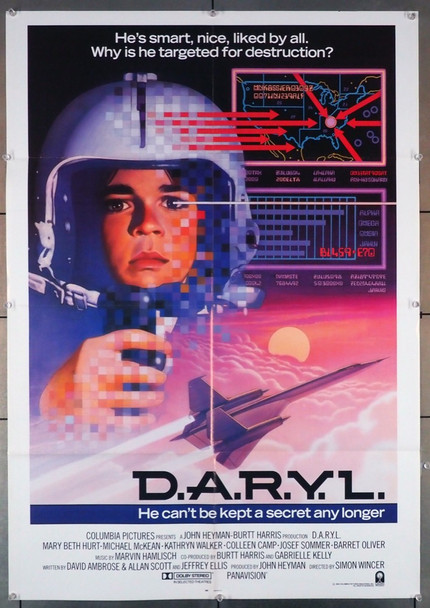 D.A.R.Y.L. (1985) 4199  International Style One-Sheet Poster  Art by Dave Jarvis Columbia Pictures Original U.S. One-Sheet Poster (27x41) Folded  Very Fine Condition