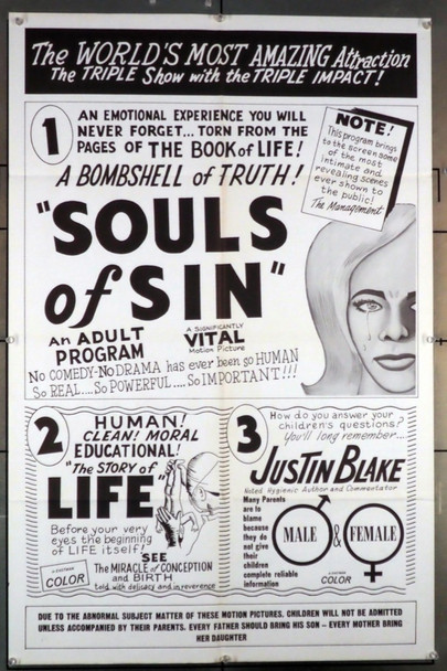 SOULS OF SIN ( 60'S ) 3538   Sexploitation Movie Poster  Triple-Feature!! Independent Original U.S. One-Sheet Poster (27x41) Folded  Late 1960s  Very Fine