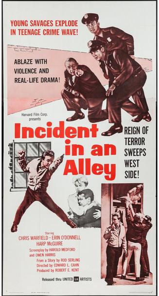 INCIDENT IN AN ALLEY (1962) 29030 United Artists Original U.S. Three Sheet Poster (41x81) Folded  Very Fine Plus Condition