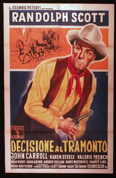 DECISION AT SUNDOWN (1957) 28894 Columbia PIctures Original Italian 39x55 Poster  Folded  Fine Condition  Used