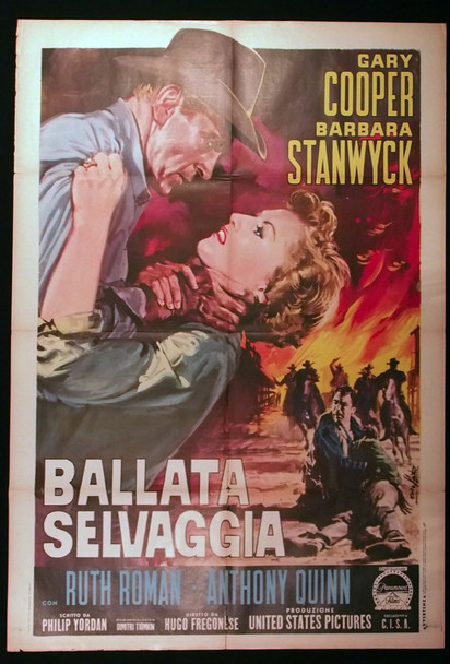 BLOWING WILD (1953) 28891  Gary Cooper   Barbara Stanwyck Movie Poster Italian 39x55 Poster  Folded  Re-release of the 1960s  Art by Enzo Nistri