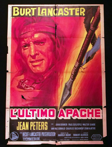 APACHE (1954) 28889   Burt Lancaster Movie Poster Original Italian 39x55 Poster  Folded  Poor to Fair Condition