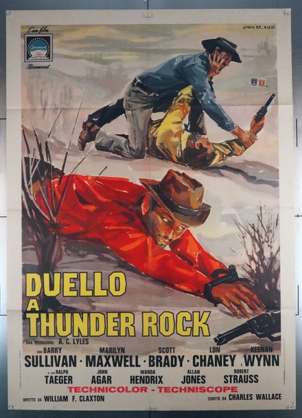 STAGE TO THUNDER ROCK (1964) 28911   Barry Sullivan Movie Poster  Art by Tino Avelli Paramount Original Italian 39x55 Poster  Folded  Fine Plus Condition