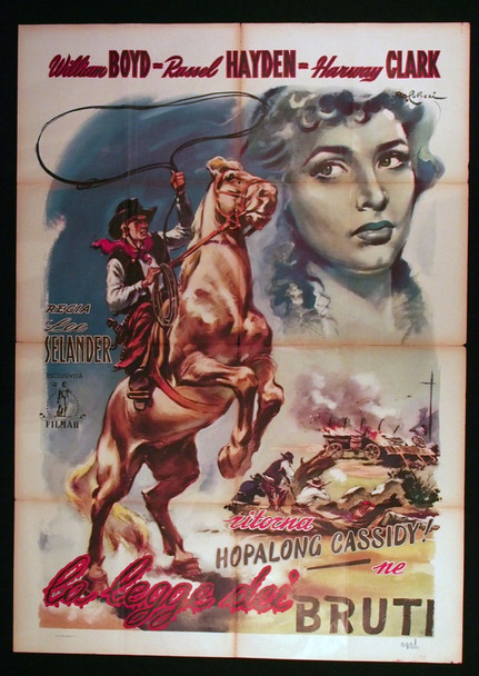 PARTNERS OF THE PLAINS (1938) 28907  William Boyd Movie Poster  Hopalong Cassidy Original Italian 39x55 Poster  Folded  Theater-Used Average Condition