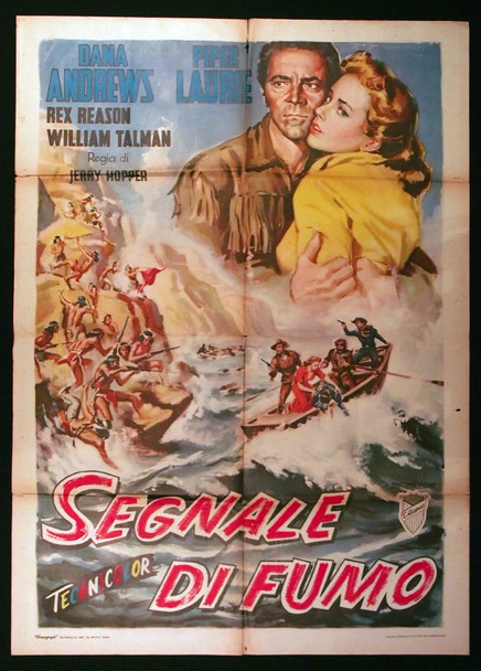 SMOKE SIGNAL (1955) 28910  Dana Andrews  Piper Laurie  Italian movie poster Original Italian 39x55 Poster  Folded  Cinema-Used Average Condition