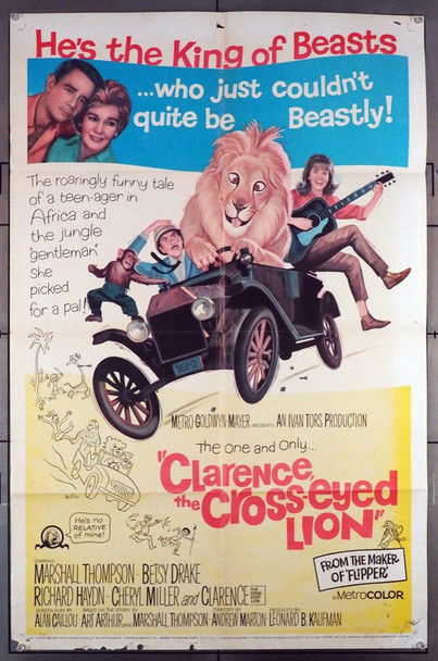 CLARENCE, THE CROSS-EYED LION (1965) 11316 MGM Original U.S. One-Sheet Poster (27x41) Folded  Fair to Good Condition