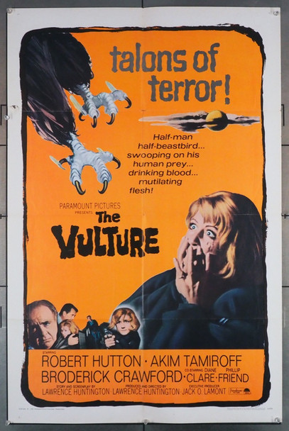VULTURE, THE (1966) 4246 Paramount Pictures Original U.S. One-Sheet Poster (27x41) Folded  Very Good Condition