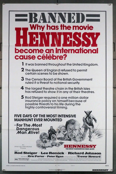 HENNESSY (1975) 4248 American International Original U.S. Style B One-Sheet Poster (27x41) Folded  Very Fine Condition